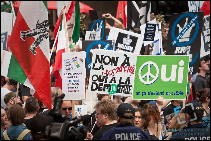 Protesters demonstrate against the the royal visit by Britain's Duke and Duchess of Cambridge, Prince William and Kate Middleton, during a demonstration organized by the pro-independence group Réseau de Résistance du Québecois in Quebec City Sunday July 3, 2011. Canada is the first stop on the first international tour by the Royal couple.
