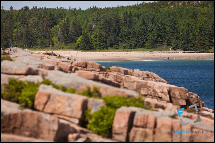 Rocky shore and sandy beach at Acadia National Park