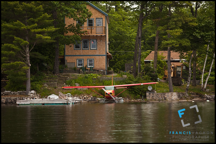 Float plane on Sebago Lake, Maine