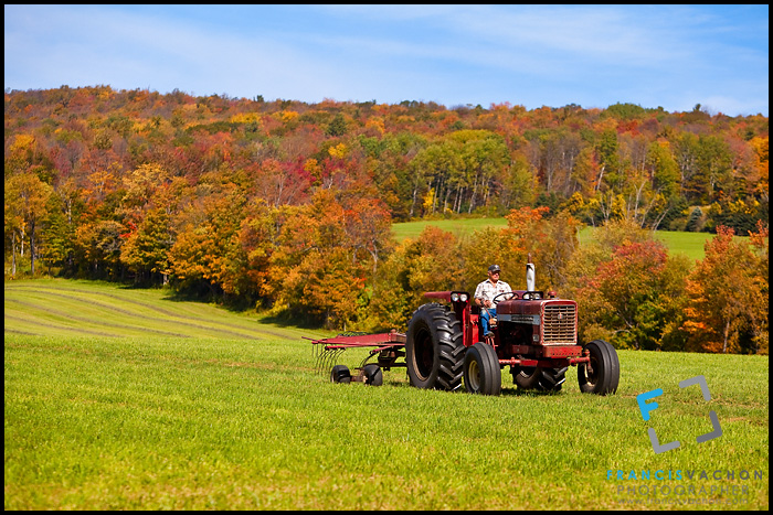 Farmer on his tractor in Berkshire county, Massachusetts
