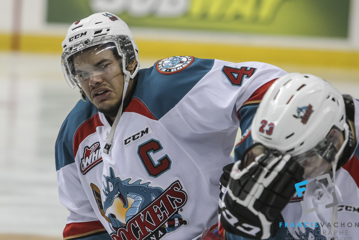 Kelowna Rockets' Madison Bowey shows dejection after his team lost against the Oshawa Generals in the Memorial Cup final in Quebec City  on Sunday May 31, 2015. Francis Vachon/Postmedia Network