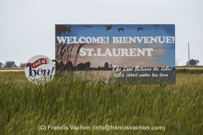 A sign welcome drivers to the city of Saint-Laurent, Manitoba, Wednesday August 12, 2015. St. Laurent is a bilingual community home to many Franco-Manitobans and Metis.